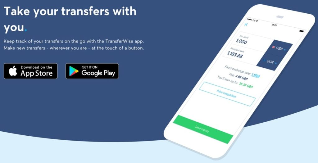 TransferWise homepage and apps