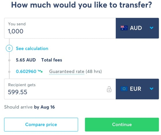TransferWise money transfer screen