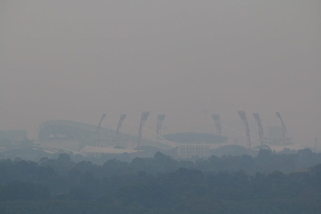 bushfire smoke over Sydney Olympic Park